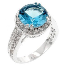 Silver Tone Aquamarine 3 Carat CZ Round Cocktail Ring