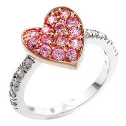 Two-Tone Rose Gold Heart with Pink CZ Ring