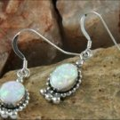 Oval Elegance White Opal Earrings