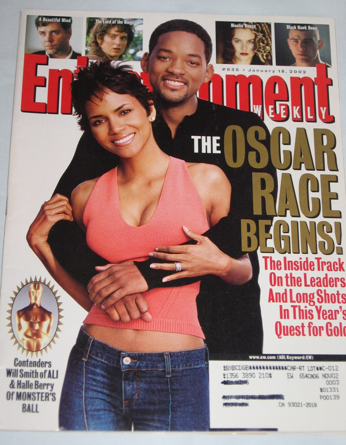 ENTERTAINMENT WEEKLY Magazine 635 Halle Berry Will Smith Oscar Race Lord of the Rings January 2002