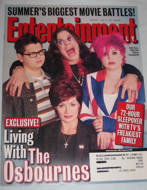 ENTERTAINMENT WEEKLY Magazine 649 Ozzie Osbourne Chastity Bono Dennis Quaid George Strait April 2002