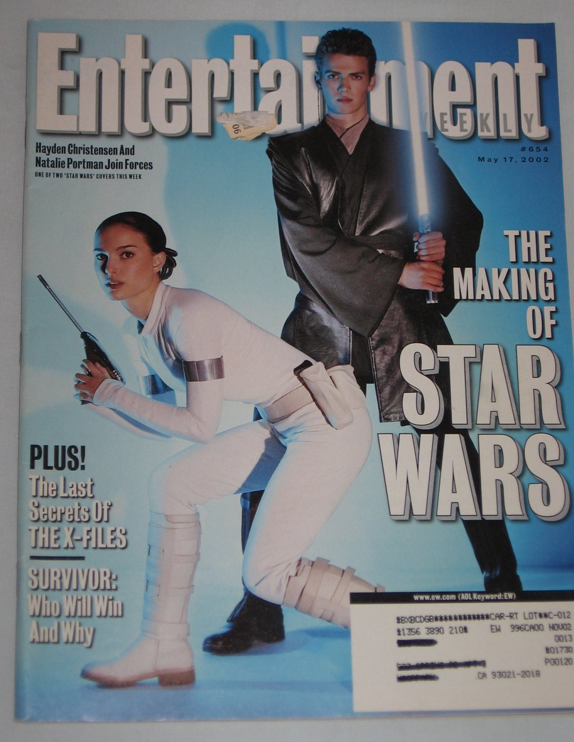 ENTERTAINMENT WEEKLY Magazine 654 Natalie Portman Hayden Christensen Star Wars X-Files May 17 2002