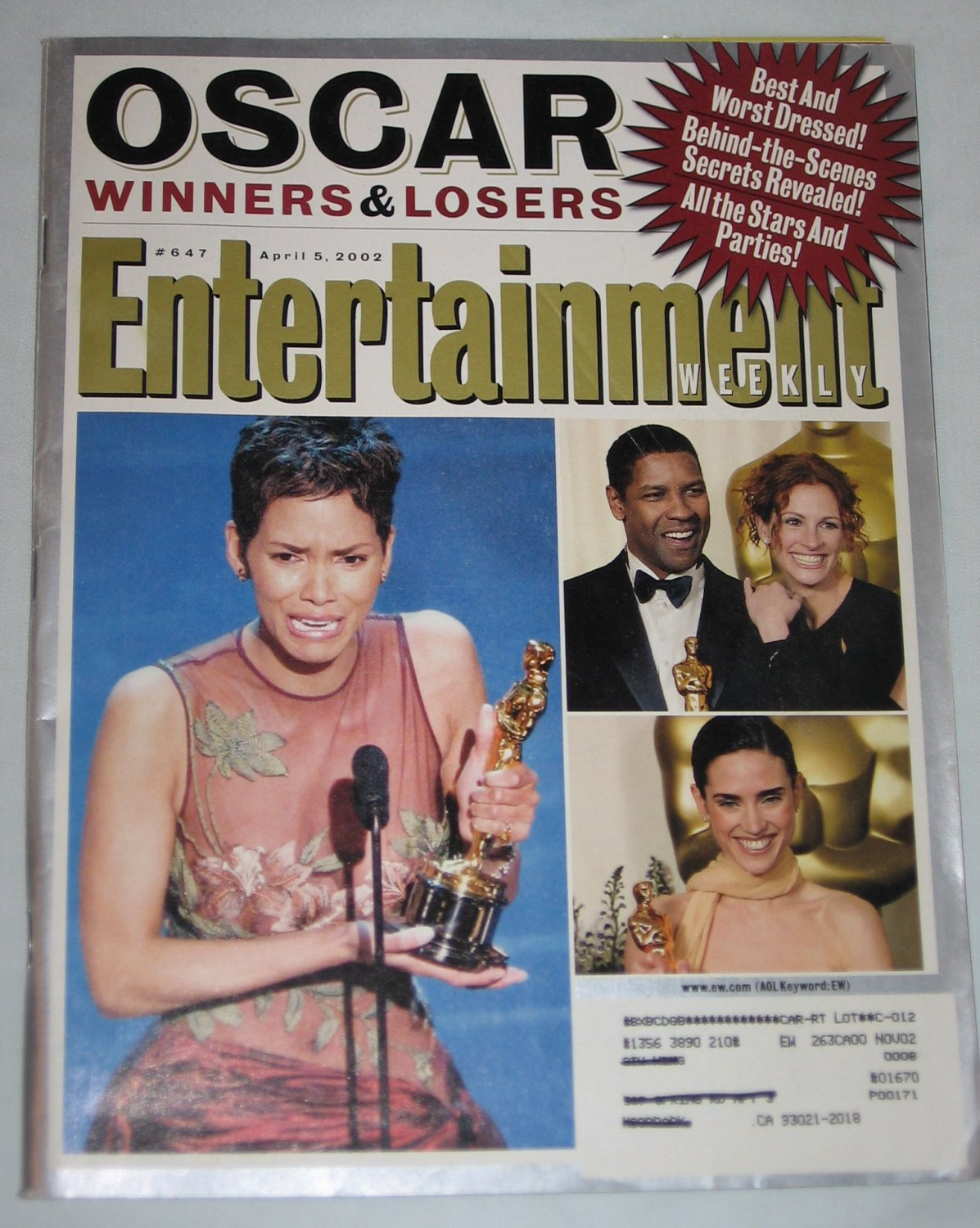 ENTERTAINMENT WEEKLY Magazine 647 Halle Berry Oscar Winners Losers Ninja Turtles April 5 2002