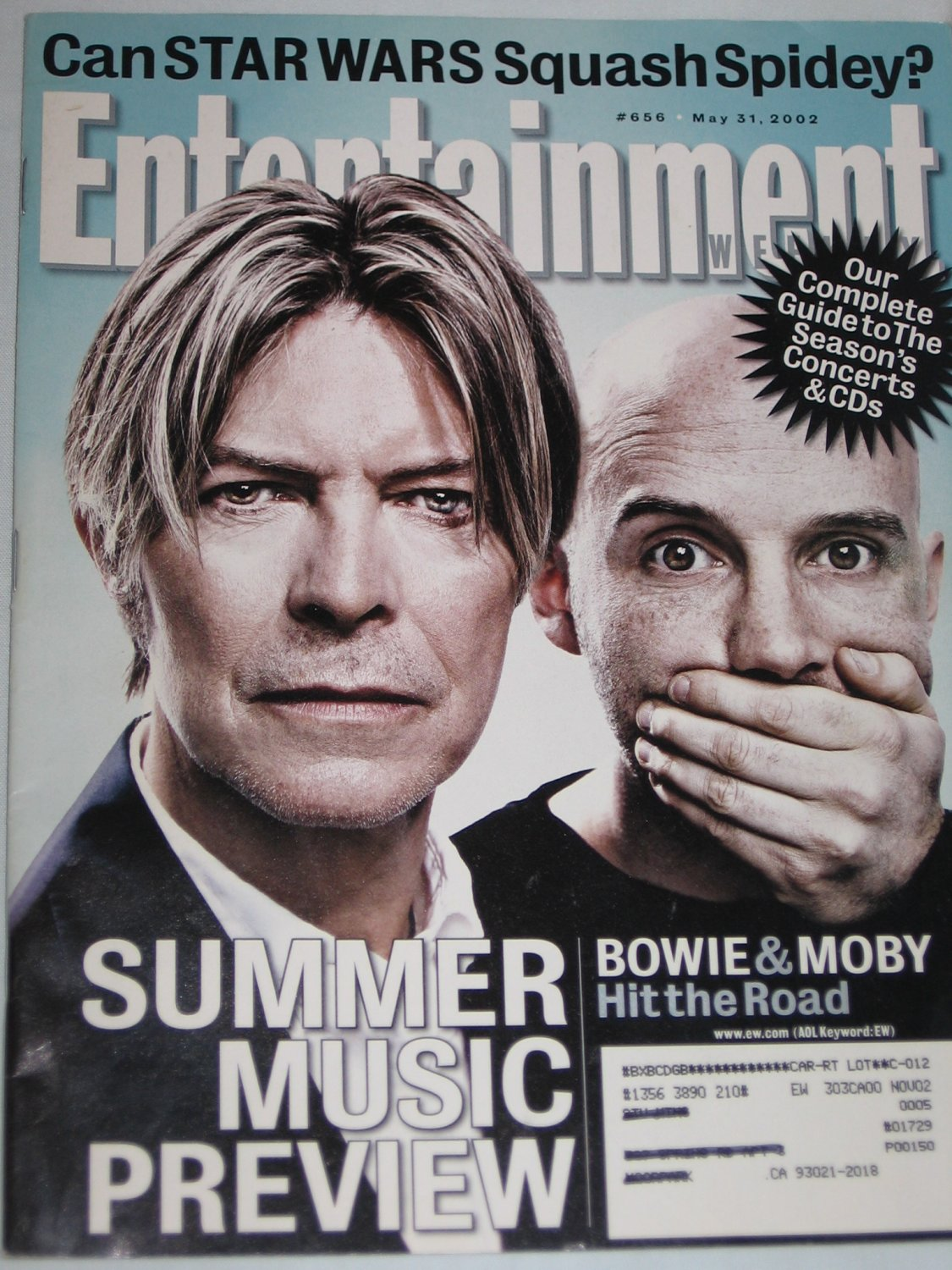 ENTERTAINMENT WEEKLY Magazine 656 David Bowie Moby Star Wars vs Spider-Man May 31 2002