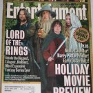 ENTERTAINMENT WEEKLY Magazine 625 626 Lord of Rings Holiday Movie Preview Harry Potter November 2001