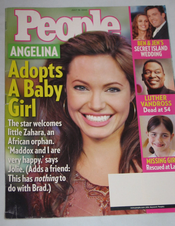 PEOPLE MAGAZINE July 2005 Angelina Jolie Adopts Baby Ben Jens Wedding Luther Vandross