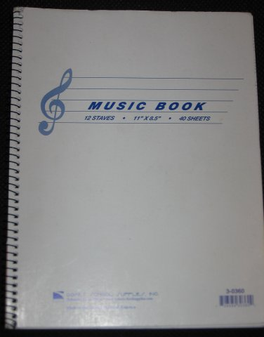 Comet Music Notebook 12 Staves 38 Sheets 11 x 8.5 Book
