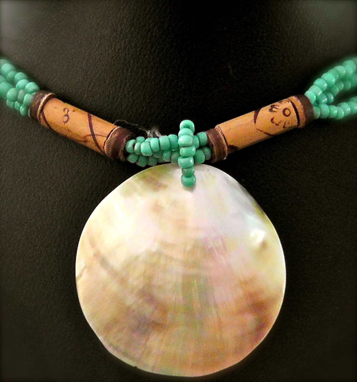 BEAUTIFUL  TURQUOISE SHELL PENDANT WITH SCARAB BEADS