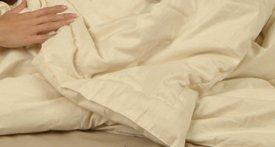 Organic Wool with Organic Cotton Damask Crib Comforter - Hand Tufted