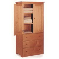 All Natural Solid Maple Wardrobe Cabinet - Armoire by Pacific Rim