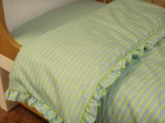 Organic Cotton Flannel Ruffled Crib Comforter Duvet Cover - Blue/Green Print