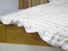 Organic Cotton Flannel Ruffled Crib Comforter Duvet Cover - Curly Vines Print