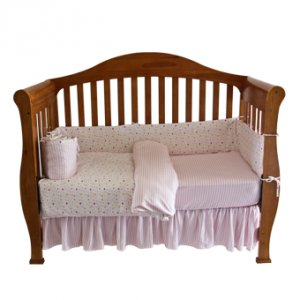 Organic Cotton Knit Crib Comforter Duvet Cover -Hearts & Stripes