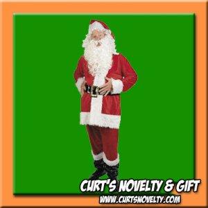 XL - XXL Faux Velvet Santa Claus Suit Costume Holiday Outfit 9 PCS