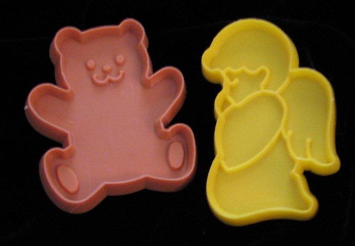 Hallmark Mini Cookie Cutter Kneeling Angel and Teddy Bear Vintage Cookie Cutters