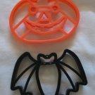 Halloween Plastic Cookie Cutters Set of 2 Large Pumpkin Jack O Lantern Bat