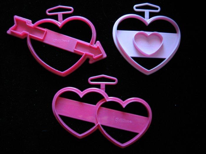 Wilton Valentine Hearts Heart Plastic Cookie Cutter 3 Cutters