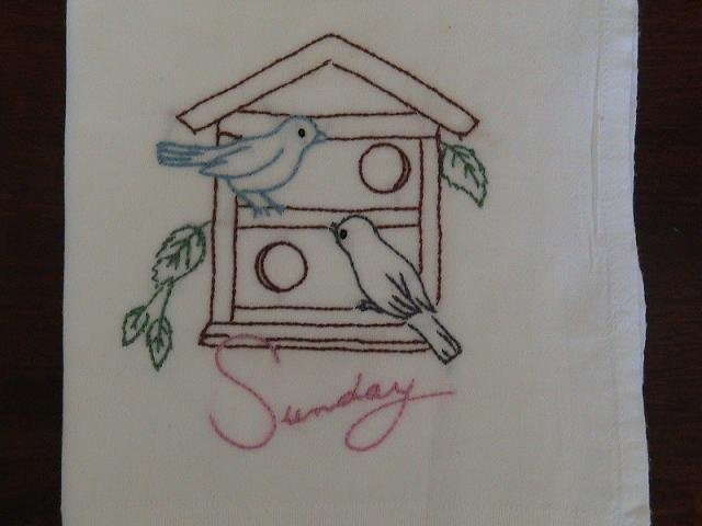 Hand Embroidered Dish Towels - Bird Houses
