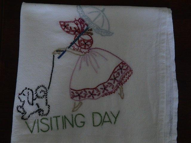Hand Embroidered Dish Towels - Sun Bonnet Girl - Chores