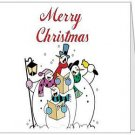 Merry Christmas Snowmen Folded Note Card