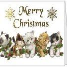 Merry Christmas Kitties Folded Note Card