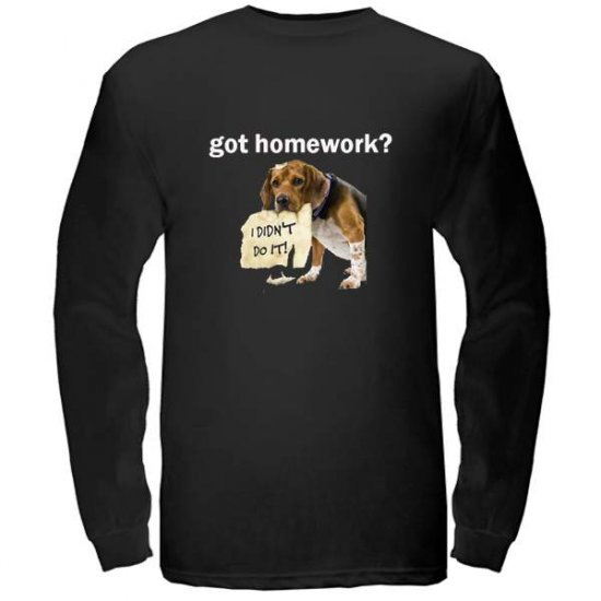 got homework? Black Long Sleeved T-Shirt