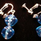 Blue dice clip on earrings