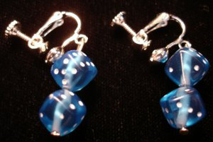 Blue dice clip on earrings