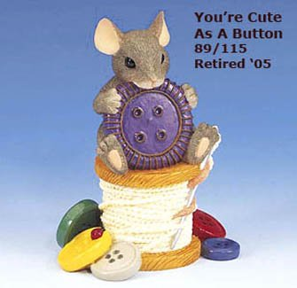 Charming Tails, YOU'RE CUTE AS A BUTTON, 89/115, retired, MIB