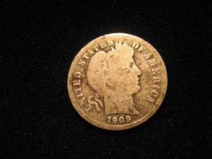 1909 Barber Dime FREE SHIPPING!