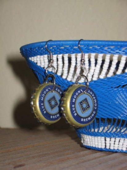 Recycled Bottle Cap Earrings Blue Moon Brewing Company