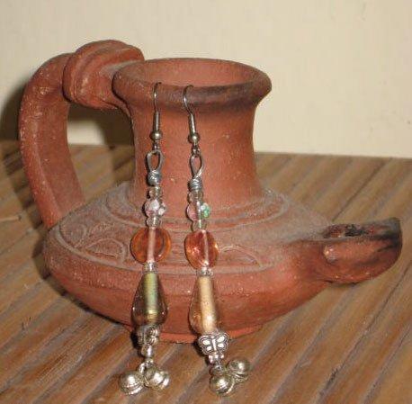 Beautiful Bells on Long Pastel Glass HandMade Earrings