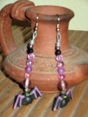 Happy Halloween Everyday Purple Bats in Black Earrings