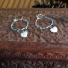 White Hearts and Circles in Blue Earrings on Unique Posts