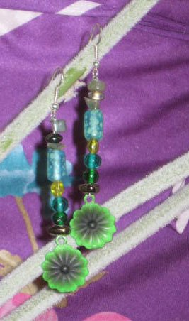 Green Flowers with Black Accent Earrings, Long and Fabulous