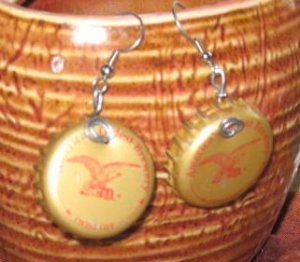 YUENGLING Recycled Bottle Cap Hand Fashioned Earrings