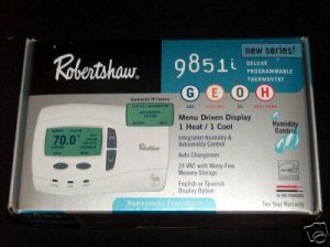 Robertshaw 9851i 1 Heat and 1 Cool thermostat Humidification/Dehumidification Control
