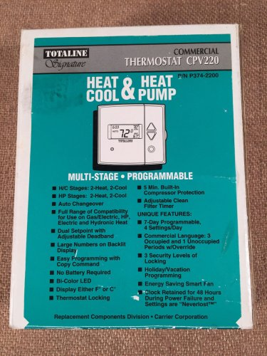 P374-2200 Totaline CPV220 Commercial Thermostat Digital Programmable Multi-Stage