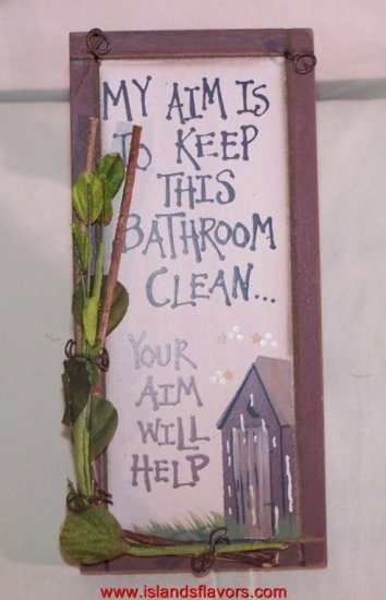 OUTHOUSE My Aim is to Keep Bathroom Clean New Wood Sign