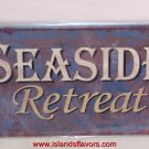 SEASIDE Retreat Weathered Tin Sign New Tropical Decor