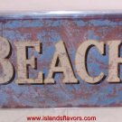 BEACH Weathered Tin Sign New Tropical Decor