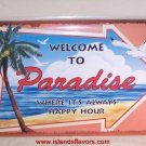 Welcome to Paradise Tropical Beach Tiki Bar Metal Sign