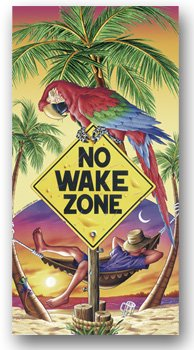 Beach Towel No Wake Zone Man in Hammock