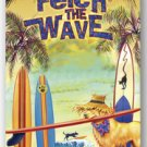Tropical Beach Towel Fetch The Wave Dog with Surfboard