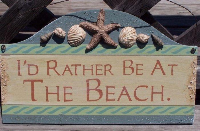 I'D Rather Be at Beach Tropical Beach Bar Sign Seashell