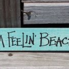 I'M FEELIN BEACHY Flamingo Tropical Beach Wood Sign