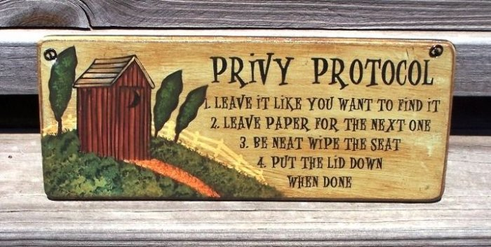 OUTHOUSE PRIVY PROTOCOL Bathroom Humor Wood Sign