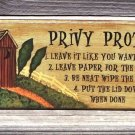 OUTHOUSE PRIVY PROTOCOL Bathroom Humor Wood Sign