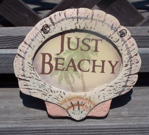 JUST BEACHY Tropical Tiki Beach Bar Sign