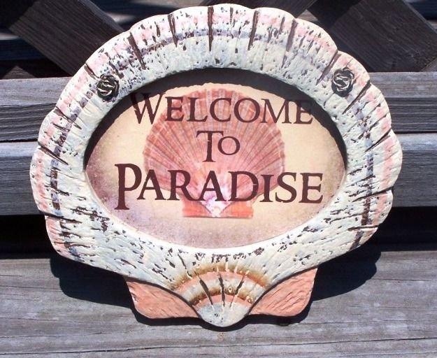 WELCOME TO PARADISE Tropical Tiki Beach Bar Sign
